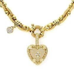 Stambolian 18k Diamond Frosted Glass Heart Pendant Necklace 75 gr LIQUIDATION!