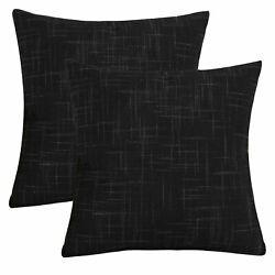Textured Linen Throw Pillow Cases Cushion Covers Solid Pillow Covers for Sofa  $8.99