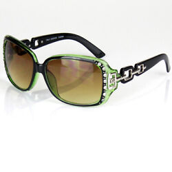 Green Womens Rhinestones Square Sunglasses Designer Fashion Wrap Shades Large