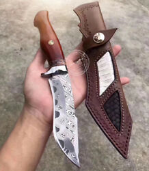 HANDMADE DAMASCUS HUNTING KNIFE FIXED BLADE RESCUE SURVIVAL GEAR TACTICAL BOWIE $153.00