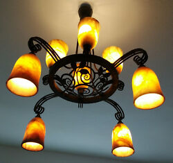 EDGAR BRANDT CHANDELIER Ceiling light orignal signed Alabaster
