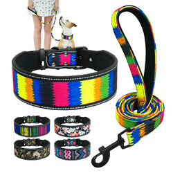 2quot; Reflective Dog Wide Collar and Leash Floral Padded for Medium Large Dog S M L $13.99