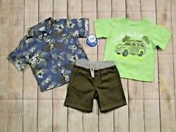 Nannette Toddler Boys 3 Piece Shorts Outfit Size 18 24 Months Top T shirt Shorts $16.00