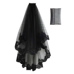 Bridal Gothic Wedding Veil Black Halloween Victorian Rave Fancy Dress Cosplay US