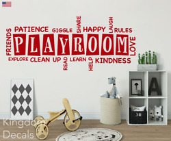 Playroom Rules Wall Stickers Kids Bedroom Nursery Wall Art Decal Removable Quote $26.95