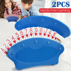 Set of Two Hands Free Playing Card Holders Plastic Table Top Desk Games Holder $7.99