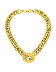 Givenchy Vintage Oval Rhinestone Gold Chain Collar Necklace $325.00