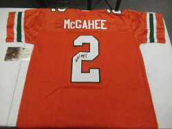 WILLIS MCGAHEE SIGNED INSCRIBED XL MIAMI JERSEY GLOBAL AUTHENTICATION JSY664