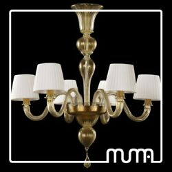 Chandelier Glass of Murano Everything Gold 24Kt with Shades Even Customizable