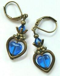 sapphire BLUE QUARTZ HEART earring BRONZE LEVERBACK handcrafted $4.59
