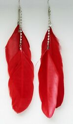 New Long Red Feather Earrings with Rhinestone Strand #E1181RED $4.99