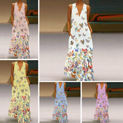 Plus Size Lady Bohemia Dress Sleeveless Butterfly Print Summer V Neck Long Dress $17.99