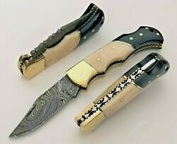 Damascus Steel Folding Pocket Knife 6.5quot; Stag Antler Handle With Leather Sheath $33.00