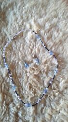 Lovely Handmade Shades of Blue Beaded Necklace amp; Matching Earrings $8.99