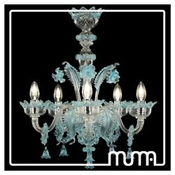 Chandelier of Murano Clear and Azzurro. 5 Lights Glass Murano Chandelier