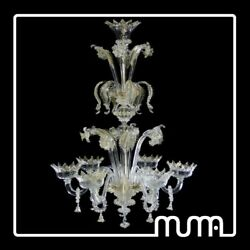 Large Chandelier Glass Murano Original with Certificate Leaf Gold 24Kt