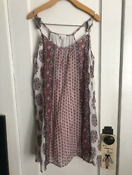 Soft Joie Sun Dress White Red Pink Cotton Spaghetti Straps Lined Dress Medium
