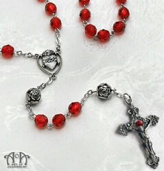Gothic Red VAMPIRE BLOOD ROSARY NECKLACE Sacred Heart Cross Crucifix Glass D58
