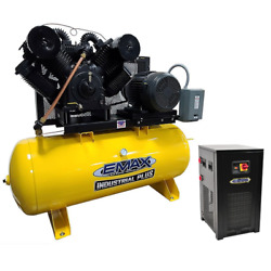 EMAX Industrial Plus 25-HP 120-Gallon Two-Stage Air Compressor w Dryer (208V...