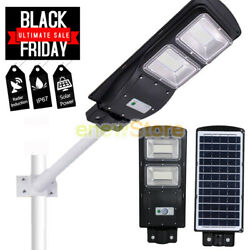 100000LM 60W 120LED Solar Powered Street Light Commercial Pole Mount Post Lamp