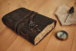 Vintage Genuine Leather Journal Deckle Edge Paper Handmade Leather bound Journal $35.99