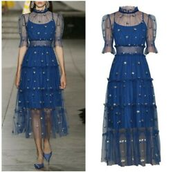 Runway Women Embroidery Floral Mesh Princess Dress Empire Waist Lantern Sleeve L