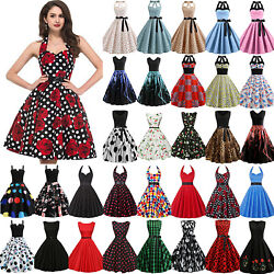 Women Retro 50s 60s Rockabilly Pinup Swing Summer Evening Party Formal Dress US $12.34