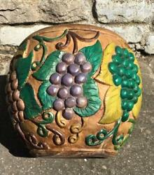 Large Standing HAND CARVED Unusual Vintage BOWL Coloured All Over Fruit Designs GBP 125.00