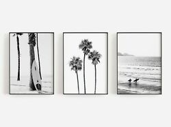 Set of 3 Bamp;W Palm Tree Beach Art Poster Print. Look Great Framed for White Walls AU $40.05