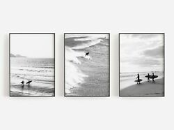 Set of 3 Bamp;W Surfing Beach Art Poster Print. Look Great Framed for White Walls AU $40.05