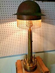 Trench Art Table Lamp Brass with Steel Helmet shade $310.00
