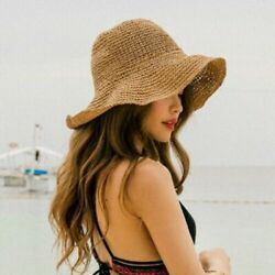 US Summer Ladies Sun Beach Straw Hat Floppy Foldable Wide Brim Womens Gardening $9.29