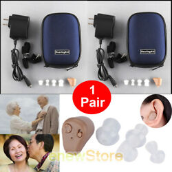 2Pack Rechargeable Digital Mini In Ear Hearing Aid Adjustable Tone Amplifier USA $42.99