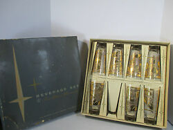 Tumblers Cocktail Glasses Federal Glass Gold Leaf Philo Sky Ball Set of 7 in Box $49.97