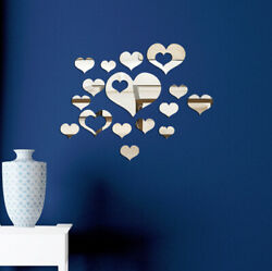 US Removable 3D Mirror Love Heart Decal Art Mural Wall Stickers Home DIY Decor $5.57
