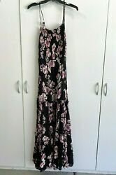NEW Intimately FREE PEOPLE #x27;Garden Party#x27; Smocked Maxi Dress XS M Black Multi $23.99