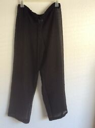 Peppermint Bay Swimsuit Cover Up Sheer Pants Draw String Waist Black Women#x27;s Med $9.99