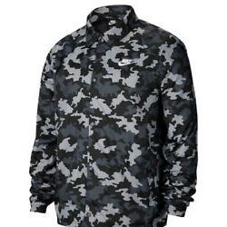 Nike Camouflage Print Coaches Jacket Black White Size M