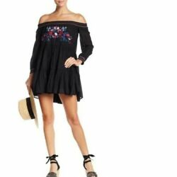 FREE PEOPLE Embroidered Ruffle Hem Mini Dress SIZE XS Black Off Shoulder NEW $16.96