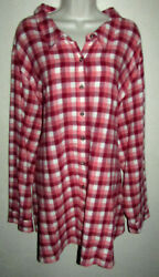 Womans Plus 5X 100% Cotton Flannel Plaid Button Down Shirt New in Package $22.00