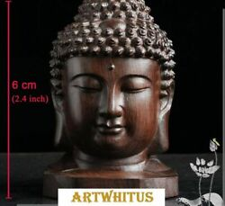 3Pcs 6cm Chinese Hand Carving Rosewood Buddha Head Statues Sculptures $7.99