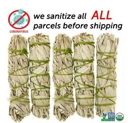 White Sage Cali Smudge Stick SET OF 5 Certified Organic Made in USA $11.95