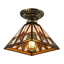 Tiffany Mission Style Ceiling Light Vintage Stained Glass Ceiling Lamp Fixture $49.99