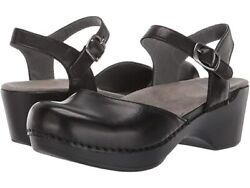 Dansko Women#x27;s Sam Mary Jane Clogs Black Soft Full Grain $112.45