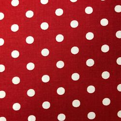 White Dots on Red Fabric 100% Cotton Fabric Treasures From the Attic $11.00