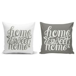 2PCs Home Sweet Home Decorative Pillow Cushion Covers 18x18 Light and Dark Gray  $12.99