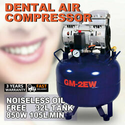 Portable Dental Air Compressor Kompressor Noiseless Silent Oil Free Oil-less 32L