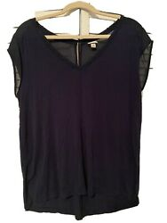 Womens Target Merona Navy Blouse With Gauze Sleeves Keyhole Button Detail Size L $3.50