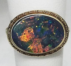 14 Gold Black Opal Ring Georgian c1830 WATCH VIDEO Sold by Aituzzi Jewelry $5500.00