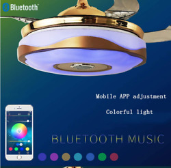 42quot; Bluetooth Music Player Invisible Ceiling Fan Light LED 7Color Chandelier $163.79